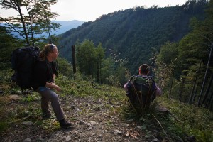 Kamil Soos (left) and Viliam Bartus looking over a clearcut at the border of Poloniny National Park, Slovakia.