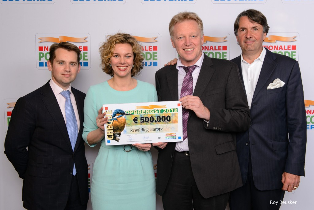 Ilko Bosman, Finance and Operations Director of Rewilding Europe (L), Marieke van Schaik, Managing Director of the Dutch Postcode Lottery, Frans Schepers, Managing Director of Rewilding Europe and Wiet de Bruijn, Chairman of the Supervisory Board of Rewilding Europe