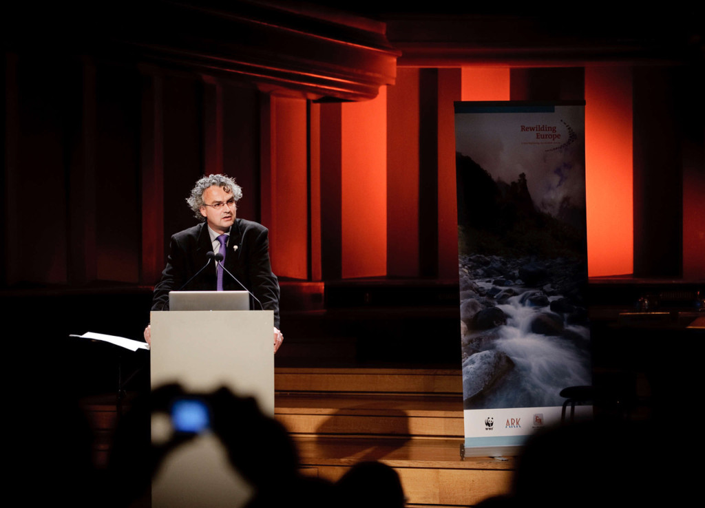 Johan van de Gronden, the CEO of WWF Netherlands, speaking at the Rewilding Europe launch event in Brussels, 18 November 2010.
