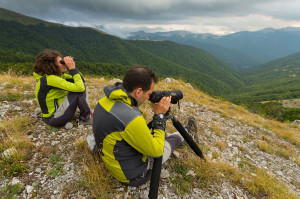 Umberto Esposito, mountain guide and CEO at Wildlife Adventures,  leading a bear-watching excursion in Central Apennines rewilding area, Italy.