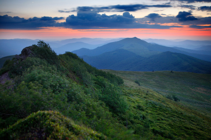 Polonina Wetlinska and Smerek Peak, Bieszczady National Park, Eastern Carpathians, Poland.
