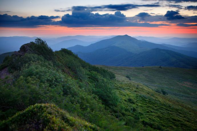 Polonina Wetlinska and Smerek Peak, Bieszczady National Park, Eastern Carpathians, Poland.