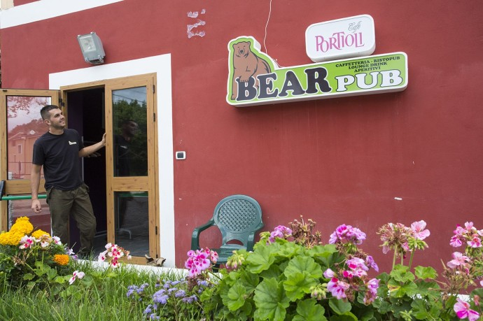 "Bear advocate Matteo Simonicca from Lecce nei Marsi in his ""Bear Pub"". Central Apennines, Abruzzo, Italy. September 2014."