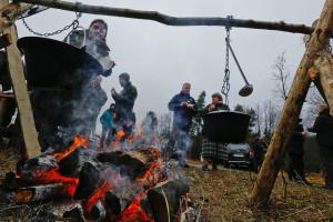 European bison release in the Eastern Carpathians rewilding area. 19 December 2014.