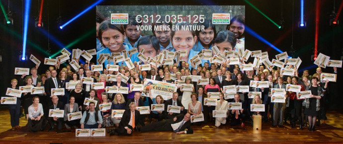 All the lucky winners at the Annual Charity Gala of the Dutch Postcode in Amsterdam, 26 January 2015