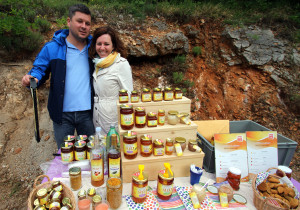 Ines and Sanjin Žarković presenting their family-owned business and products in the Velebit Mountain rewilding area, Croatia.