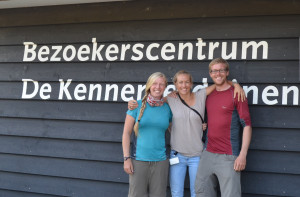 Anna and Dave with Yvonne Kemp (center), Coordinator of the European Rewilding Network (ERN) at the visitor centre of the National Park Zuid-Kennemerland, The Netherlands.
