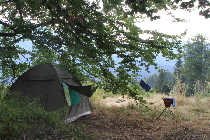 Testing the Tented Camp equipment in Southern Carpathians rewilding landscape, Romania.