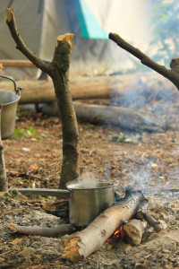 Preparing coffee on the campfire.