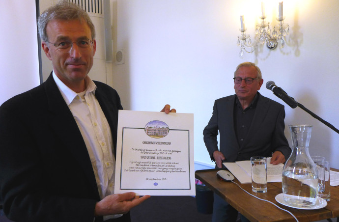 Wouter Helmer, co-founder and Rewilding Director of Rewilding Europe receives the 'Groeneveld Award' (Groeneveldprijs) at the Groeneveld Castle in Baarn, the Netherlands.