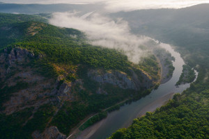 A canyon on the Arda River, in the rewilding area of the Bulgarian Rhodope Mountains.