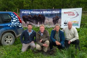 Rewilding team - Neil Birnie (Enterprise Advisor), Frans Schepers (Managing Director), Wouter Helmer, (Rewilding Director) and Staffan Widstrand, (Communications Advisor) at the bison release in Southern Carpathians rewilding area, Romania.