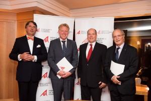 From right; Mr. Bernard Fautrier, CEO and Vice-President of the Prince Albert II of Monaco Foundation, HSH Prince Albert II of Monaco, Mr. Frans Schepers, Managing Director of Rewilding Europe, Mr. Wiet de Bruijn, Chairman of Rewilding Europe Supervisory Board.