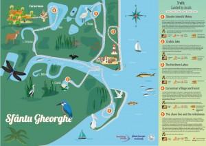 Sfântu Gheorghe community trails map, Danube Delta, Romania.
