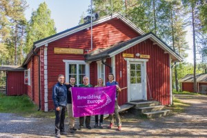 Rewilding Europe team at the Kuikka base camp, Khumo, Finland.