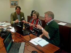 Wiet de Bruijn, Chairman of Rewilding Europe Supervisory Board (left), Princess Laurentien van Oranje (centre) and Managing Director of Rewilding Europe, Frans Schepers (right) cutting the ribbon and launching the Rewilding Europe Circle.