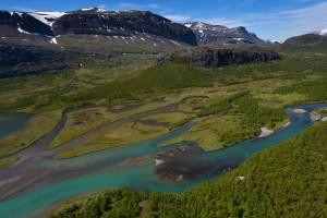 The headwater lands of Vietasätno river, Stora Sjöfallet National Park, Lapland rewilding landscape, Sweden