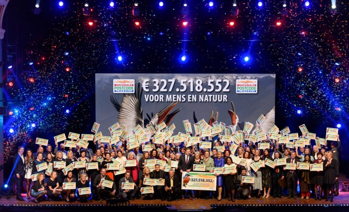 All the lucky winners at the Annual Charity Gala of the Dutch Postcode Lottery in Amsterdam, 26 January 2016, together with George Clooney.