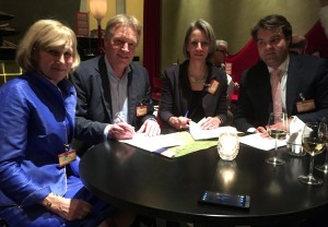 From left to right: Lena Linden (Board member, Rewilding Europe), Frans Schepers ( Managing Director, Rewilding Europe), Petra Souwerbren (Director, ARK Nature), Tim Slager (Board member, ARK Nature) at the signing ceremony in Amsterdam.