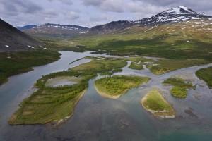 The headwater lands of Vietasätno River, Stora Sjöfallet National Park, Laponia UNESCO World Heritage Site, Lapland rewilding area, Norrbotten, Sweden.