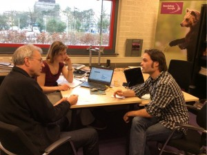 From left: Wouter Helmer, Rewilding Director working with Anna Luijten and Jelle Harms in the Rewilding Europe office in Nijmegen, The Netherlands.