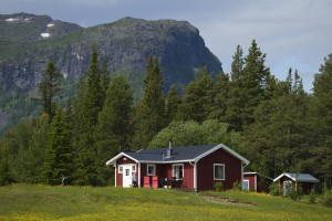 The village near the Årrenjarka lodge near Kvikkjokk, Norrbotten, Lapland rewilding landscape, Sweden.