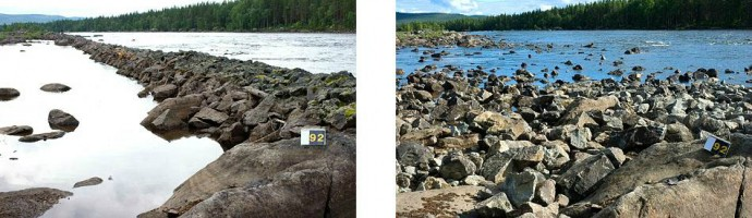 Pictures of the Pite River before (left) and after (right) removal of stone dams.