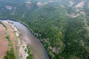Flight shots over the Arda river canyon, Madzharovo, Eastern Rhodopes, Rhodope Mountains rewilding landscape, Bulgaria.