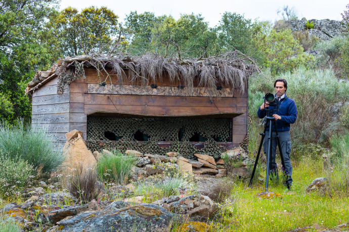 The owner of Wildlife Portugal, Fernando Romão, at the wildlife watching hide in the Côa Valley, Western Iberia rewilding landscape, Portugal.