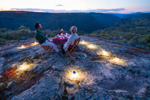 Dining under the stars in Faia Brava, Western Iberia rewilding area, Portugal.