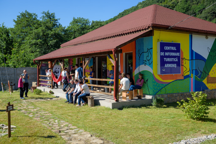 Launch of the remodelled and redesigned Bison Visitor Centre in Armeniș, Țarcu Mountains, Southern Carpathians, Romania.