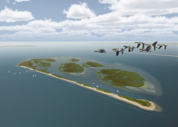 A digital illustration of the first phase of the Marker Wadden restoration project in the central Netherlands.