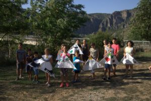 Members of the Rewilding Rhodopes team oversee the highly popular kite making workshop.