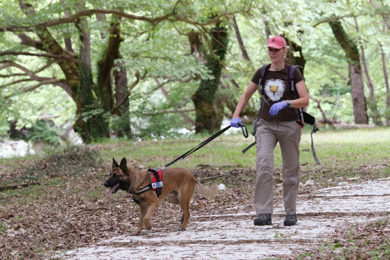 Ela (the handler) and Kiko (a mix of German and Belgian shepherd dog) are one of the anti-poison units based in Greece.
