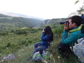Mario Cipollone, Rewilding Apennines team leader and project leader of Salviamo l'Orso and Angela Tvone, Communications wildlife watching in the rewilding area.