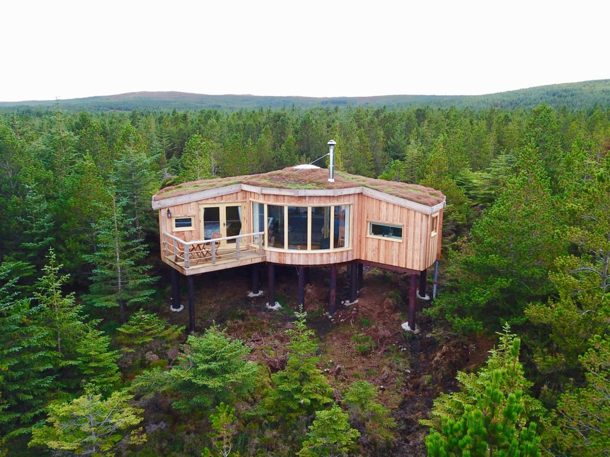 Uist Forest Retreat Cabins are built on 'legs' to avoid foundations on the land.