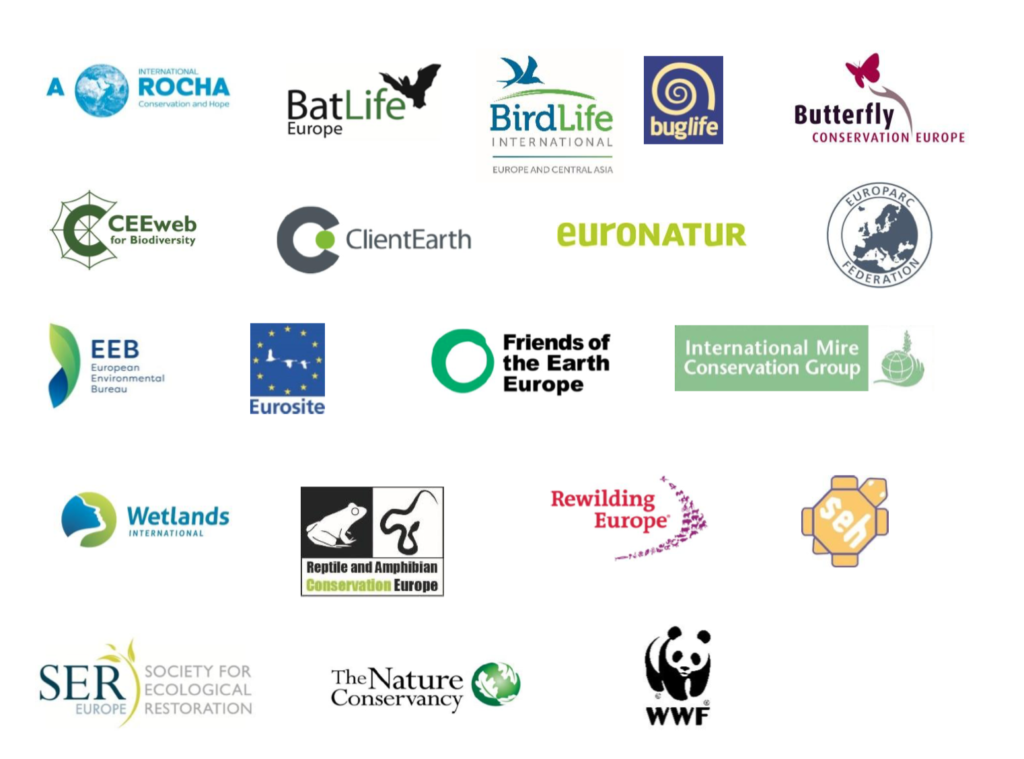 The 20 organisations that signed the position paper on on Biodiversity Strategy, working together under the European Habitat Forum.