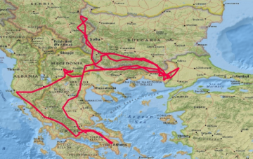 A juvenile black vulture fitted with a GPS transmitter, recently made a 3200-kilometre, 17-day journey over the Balkans.