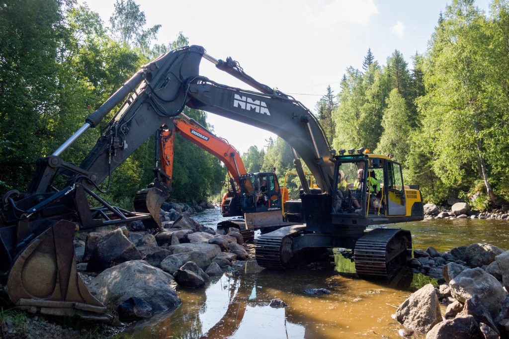 River restoration work on the Logde River in Sweden