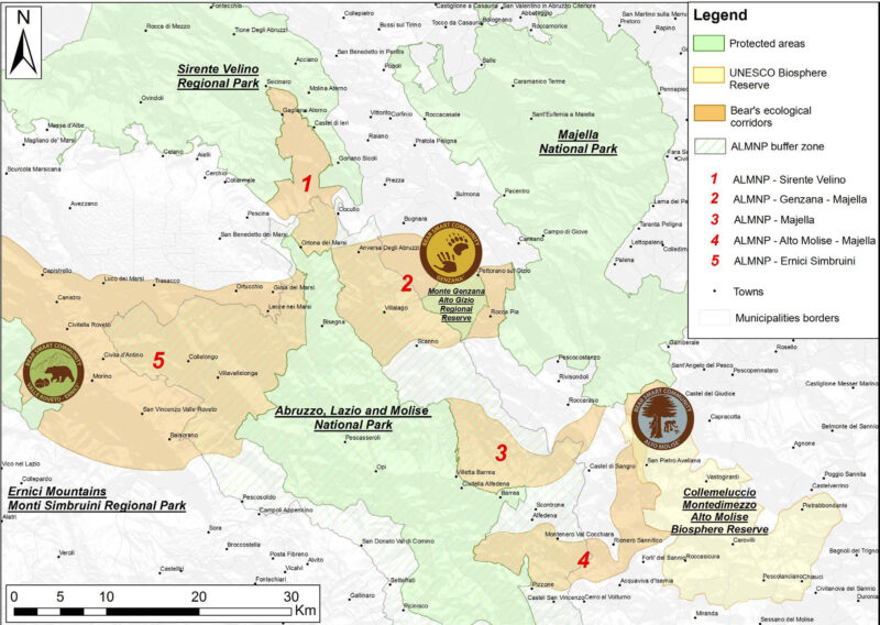 Central Apennines wildlife corridos map